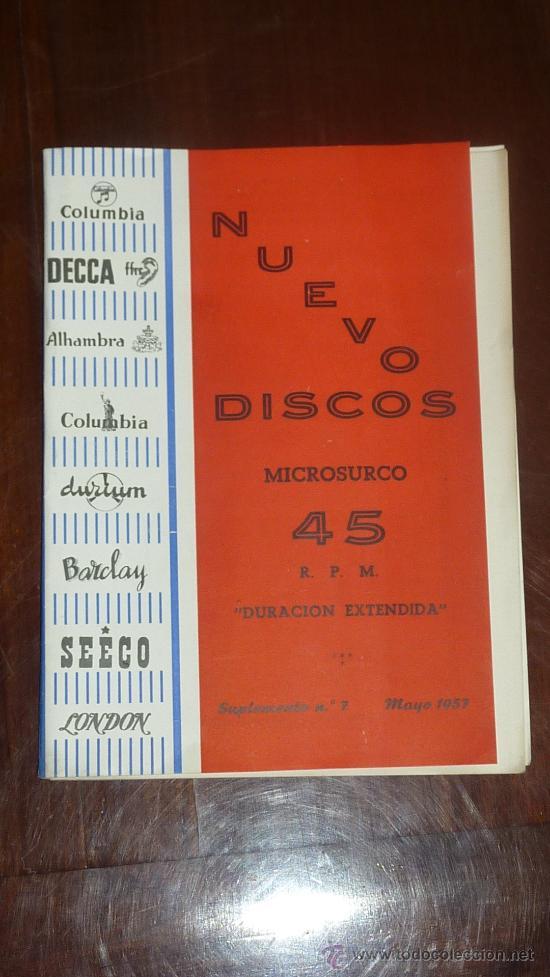 CATALOGO NUEVOS DISCOS. VARIEDAD. SUPLEMENTO Nº7. MAYO 1957 (Música - Catálogos de Música, Libros y Cancioneros)