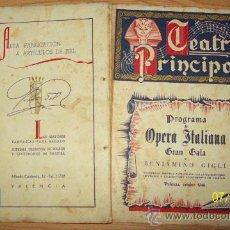 Catálogos de Música: PROGRAMA OPERA ITALIANA B. GIGLI - TEATRO PRINCIPAL DE VALENCIA 1946 - CON ETIQUETA COÑAC PONS. Lote 27499889