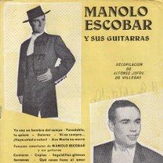 Catálogos de Música: MANOLO ESCOBAR Y SUS GUITARRAS. EDICIONES MARAZUL ENRIQUE MONTOYA. Lote 28222373