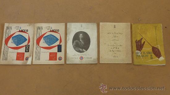 LOTE DE 5 CATALOGOS DE GRAN TEATRO DEL LICEO. DE 1958 A 1961. BARCELONA. (Música - Catálogos de Música, Libros y Cancioneros)