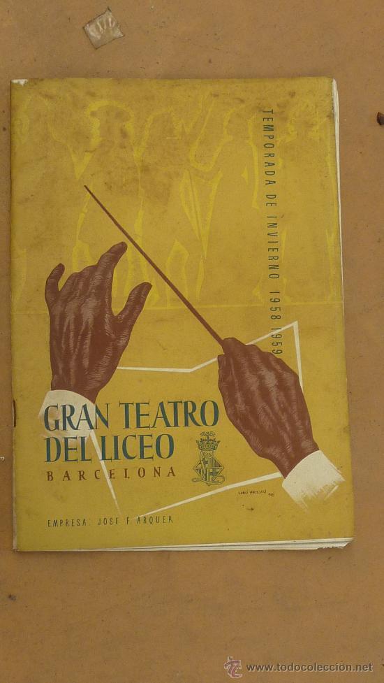 Catálogos de Música: lote de 5 catalogos de gran teatro del Liceo. de 1958 a 1961. Barcelona. - Foto 4 - 28589548