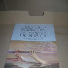 Catálogos de Música: CERTAMEN INTERNACIONAL DE BANDAS DE MUSICA. VALENCIA DEL 8 AL 14 DE JULIO DE 1993.. Lote 29322687