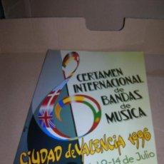 Catálogos de Música: CERTAMEN INTERNACIONAL DE BANDAS DE MUSICA. VALENCIA DEL 9 AL 14 DE JULIO DE 1996.. Lote 29322865