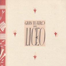 Catálogos de Música: LICEO .1942.PROGRAMA OPERA COSI FAN TUTTE.8ª .8 PG.. Lote 30586363
