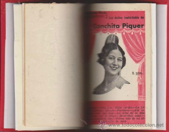 CONCHITA PIQUER. 5 CANCIONEROS ENCUADERNADOS EN TOMO LUJO SIN GUILLOTINAR. (Música - Catálogos de Música, Libros y Cancioneros)