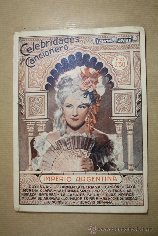 CELEBRIDADES DEL CANCIONERO - IMPERIO ARGENTINA - EDITORIAL ALAS NUMERO 4 (Música - Catálogos de Música, Libros y Cancioneros)