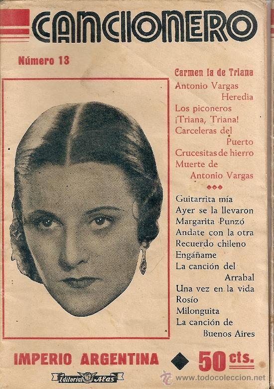 CANCIONERO IMPERIO ARGENTINA (Música - Catálogos de Música, Libros y Cancioneros)