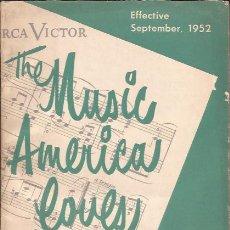 Catálogos de Música: CATALOGO DE DISCOS-RCA SEPTIEMBRE 1952-USA-SINGLE 78 RPM LP-. Lote 32637287