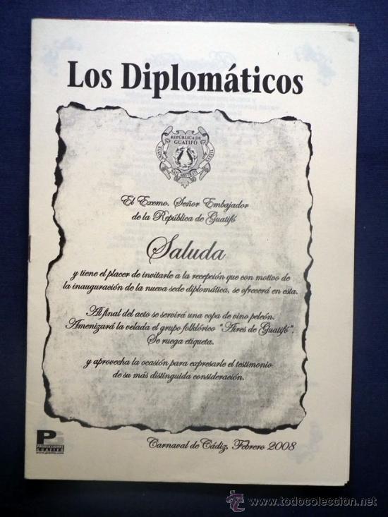 CARNAVAL DE CADIZ - LIBRETO CALLEJERA 2008 LOS DIPLOMATICOS DEL GUATIFO (Música - Catálogos de Música, Libros y Cancioneros)