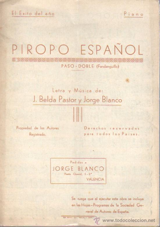 PARTITURA DEL PASODOBLE - FANDANGUILLO PIROPO DE ESPAÑA DE J.BELDA Y JORGE BLANCO (Música - Catálogos de Música, Libros y Cancioneros)