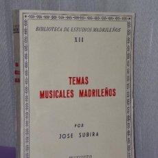Catálogos de Música: TEMAS MUSICALES MADRILEÑOS. (EVOCACIONES HISTÓRICAS). Lote 35354691