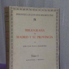Catálogos de Música: BIBLIOGRAFÍA DE MADRID Y SU PROVINCIA. TOMO I - MANUSCRITOS E IMPRESOS. Lote 35354910
