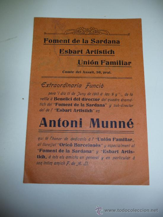 ANTIGUO PAPEL DEL FOMENT DE LA SARDANA (Música - Catálogos de Música, Libros y Cancioneros)