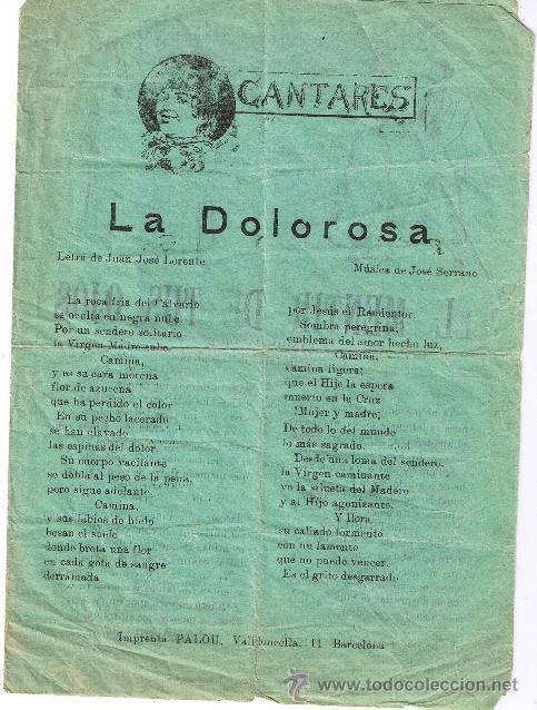 CANCIONERO DE 4 PÁGINAS - VER CANCIONES EN DESCRIPCIÓN - IMPRENTA PALOU - BARCELONA (Música - Catálogos de Música, Libros y Cancioneros)