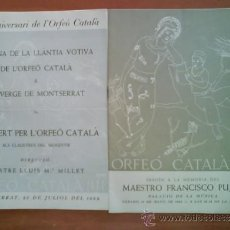 Catálogos de Música: 1952 - 1953 DOS PROGRAMAS CONCERT PER L ´ORFEÓ CATALÁ. Lote 37025453