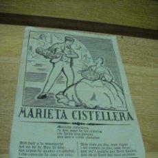 Catálogos de Música: MARIETA CISTELLERA - SAINETE DE SALVADOR BONAVIA - COMPAÑIA VILA DAVI - GRAN TEATRE ESPANYOL. Lote 37225466