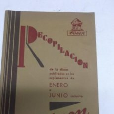 Catálogos de Música: RECOPILACION DE LOS DISCOS PUBLICADOS EN LOS SUPLEMENTOS DE ENERO A JUNIO ODEON 1930. Lote 87246579
