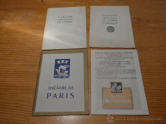 LOTE DE 4 PROGRAMA DE TEATRO, MUSICA, OPERA, PARIS, LICEO, LICEU (Música - Catálogos de Música, Libros y Cancioneros)