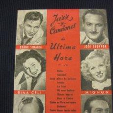 Catálogos de Música: CANCIONERO JAZZ Y CANCIONES.FRANK SINATRA,RINA CELI,BING CROSBY,JOSE SEGARRA,MIGNON,MONASTERIO.. Lote 42148488