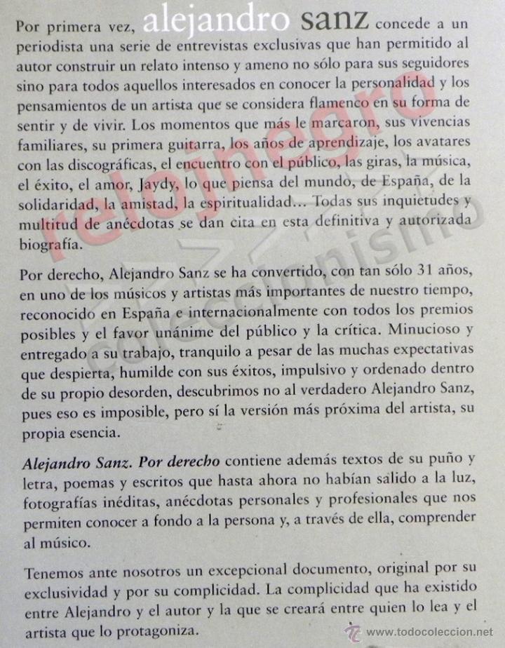 Catálogos de Música: ALEJANDRO SANZ POR DERECHO LIBRO J DE LA IGLESIA FOTOS VIVENCIAS GIRAS MÚSICA CANTANTE ESPAÑOL ÍDOLO - Foto 2 - 43498949