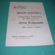 Catálogos de Música: PROGRAMA SEGON CONCERT PER LA ORQUESTRA SIMFÒNICA DE BARCELONA -ARTUR RUBINSTEIN ,MTRE. LAMOTE DE GR. Lote 44000037
