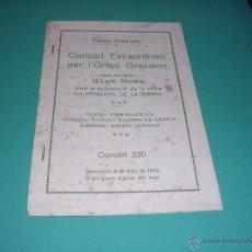 Catálogos de Música: PROGRAMA - TEATRE ELDORADO CONCERT EXTRAORDINARI PER L'ORFEÓ GRACIENC 9 MARÇ 1919 OBRES DEL N'ENRIC . Lote 44000271