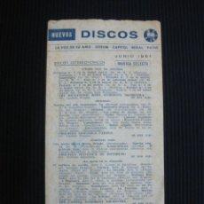 Catálogos de Música: NUEVOS DISCOS. LA VOZ DE SU AMO-ODEON-CAPITOL-REGAL-PATHE. JUNIO 1961. . Lote 44240422