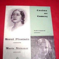 Catálogos de Música: CASINO DEL COMERÇ - TERRASSA - 1935 - MARIA NIEBAUER. Lote 261294955
