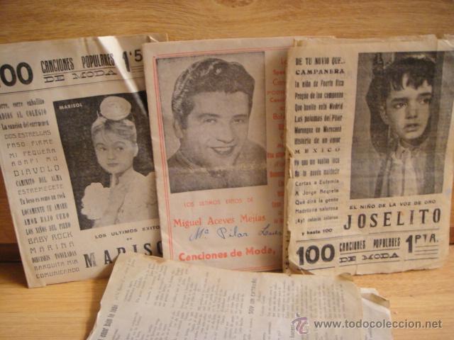 LOTE DE CANCIONEROS - JOSELITO , ACEBES MEJIAS . MARISOL (Música - Catálogos de Música, Libros y Cancioneros)