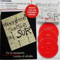 Catálogos de Música: DE LA MEMORIA CONTRA EL OLVIDO LIBRO + CD MANIFIESTO CANCIÓN DEL SUR MÚSICA POESÍA GRANADA ANDALUCÍA. Lote 210139690