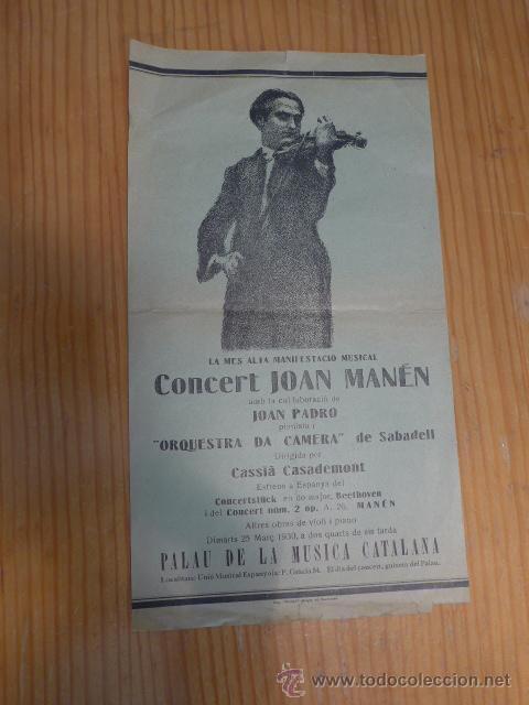 CARTEL ANTIGUO DE JOAN MANEN AL PALAU DE LA MUSICA CATALANA, AÑOS 30, REPUBLICA, BARCELONA (Música - Catálogos de Música, Libros y Cancioneros)