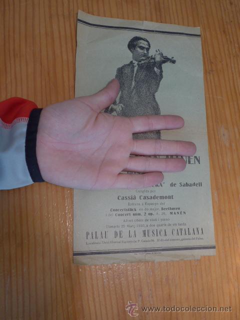 Catálogos de Música: Cartel antiguo de Joan Manen al palau de la musica catalana, años 30, republica, barcelona - Foto 2 - 47116042