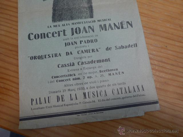 Catálogos de Música: Cartel antiguo de Joan Manen al palau de la musica catalana, años 30, republica, barcelona - Foto 3 - 47116042