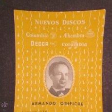 Catálogos de Música: CATALOGO SUPLEMENTO DISCOS COLUMBIA DECCA ... AÑO 1955 - (V-1700). Lote 47149353