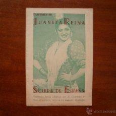 Catálogos de Música: CANCIONERO LIBRITO ESPAÑOL CANCIONES DE JUANITA REINA SOLERA DE ESPAÑA. Lote 47329426