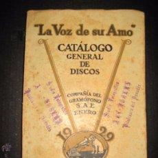 Catálogos de Música: CATALOGO GENERAL DE DISCOS LA VOZ DE SU AMO AÑO 1929 - 276 PAGINAS . Lote 48559565