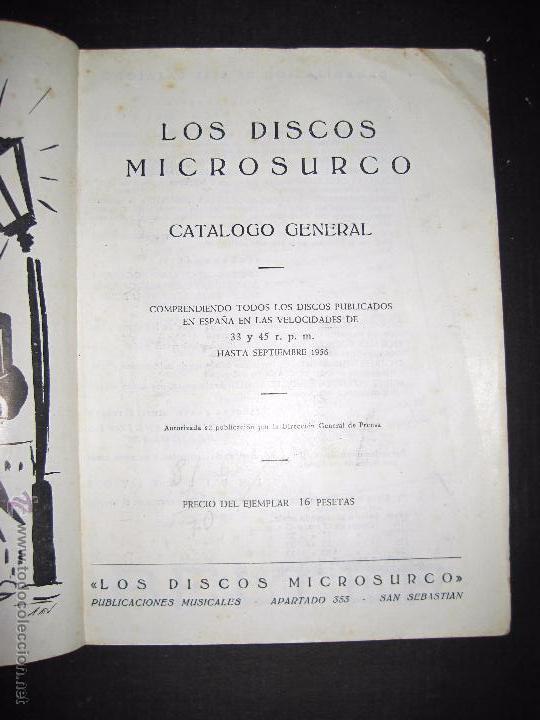 Catálogos de Música: CATALOGO GENERAL DE DISCOS MICROSURCO - 1956 - 214 PAGINAS - Foto 2 - 48559809