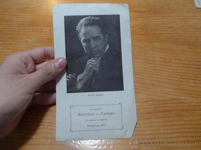 ANTIGUO FOLLETO DE TITTA RUFFO, ESCRITO DETRAS DE BARCELONA (Música - Catálogos de Música, Libros y Cancioneros)