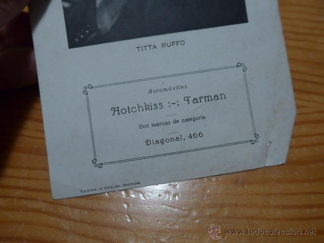 Catálogos de Música: Antiguo folleto de titta ruffo, escrito detras de Barcelona - Foto 2 - 48696545