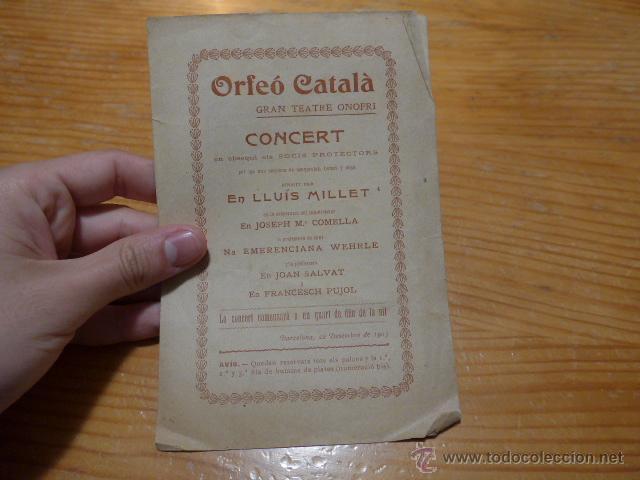 ANTIGUO CATALOGO DE MUSICA DE ORFEO CATALA, LLUIS MILLET, 1903, BARCELONA (Música - Catálogos de Música, Libros y Cancioneros)