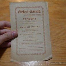 Catálogos de Música: ANTIGUO CATALOGO DE MUSICA DE ORFEO CATALA, LLUIS MILLET, 1903, BARCELONA. Lote 48697734