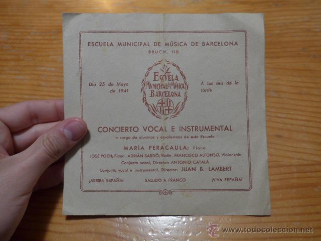 ESCUELA MUNICIPAL DE MUSICA DE BARCELONA, 1941 (Música - Catálogos de Música, Libros y Cancioneros)
