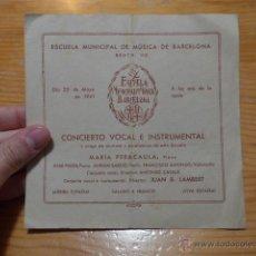 Catálogos de Música: ESCUELA MUNICIPAL DE MUSICA DE BARCELONA, 1941. Lote 48697811