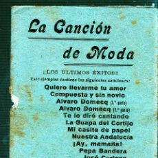 Catálogos de Música: LA CANCION DE MODA. CANCIONERO. Lote 49282199