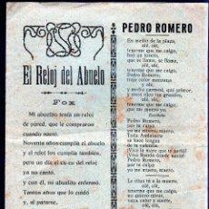 Catálogos de Música: EL RELOJ DEL ABUELO. PEDRO ROMERO. NO TE MIRES EN EL RIO. FANDANGUILLOS. EL HOMBRE Y LA BESTIA. Lote 49284849
