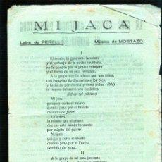 Catálogos de Música: MI JACA. LA MAS ANTIGUA SOCIEDAD PROTECTORA DE ANIMALES. SOY VOLUNTARIO ESPAÑOL. . Lote 49296813