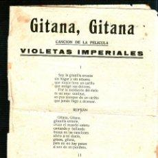 Catálogos de Música: GITANA, GITANA. VIOLETAS IMPERIALES. CAMPANILLEROS. NIÑA DE LA PUEBLA. BARRIO DE SANTA CRUZ.. Lote 49297095