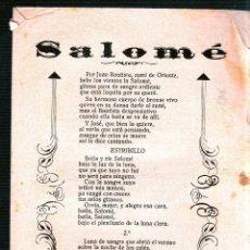 Catálogos de Música: SALOME. TENGA LA BONDAD DE LEERLO. CARTA DE UN QUINTO A SU NOVIA. . Lote 49297849