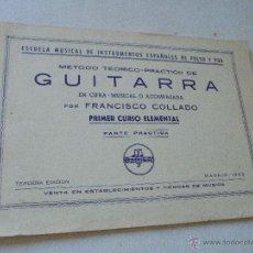 Catálogos de Música: MÉTODO TEÓRICO PRÁCTICO DE GUITARRA EN CIFRA-MUSICAL Y ACOMPASADA-FRANCISCO COLLADO-1962. Lote 50406847