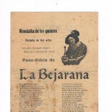 Catálogos de Música: CANCIONERO ANTIGUO 2 HOJAS RONDALLA DE LOS QUINTOS ZARZUELA EN DOS ACTOS LA BEJARANA. Lote 50595294